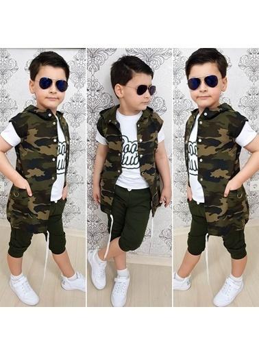 Quzucuk Kids Erkek Çocuk Zincir Detaylı Yeşil Kaprili Kamuflaj Takım Renkli